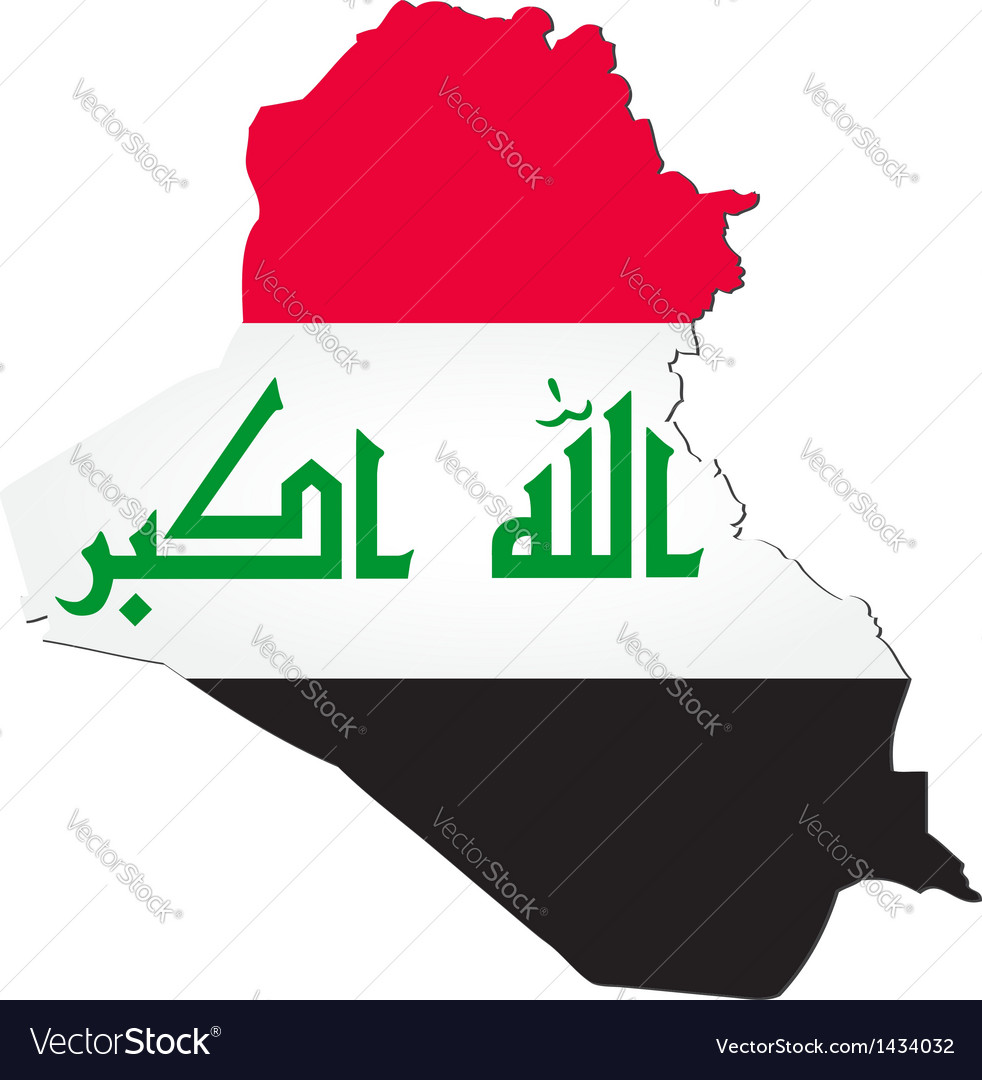 Map of Iraq with national flag vector image