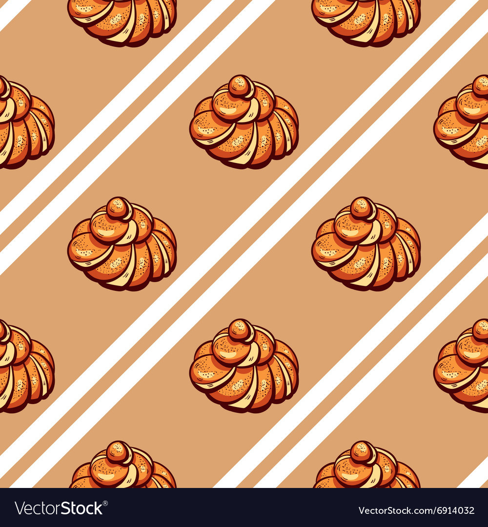 Poppy Seed Buns Seamless Pattern vector image