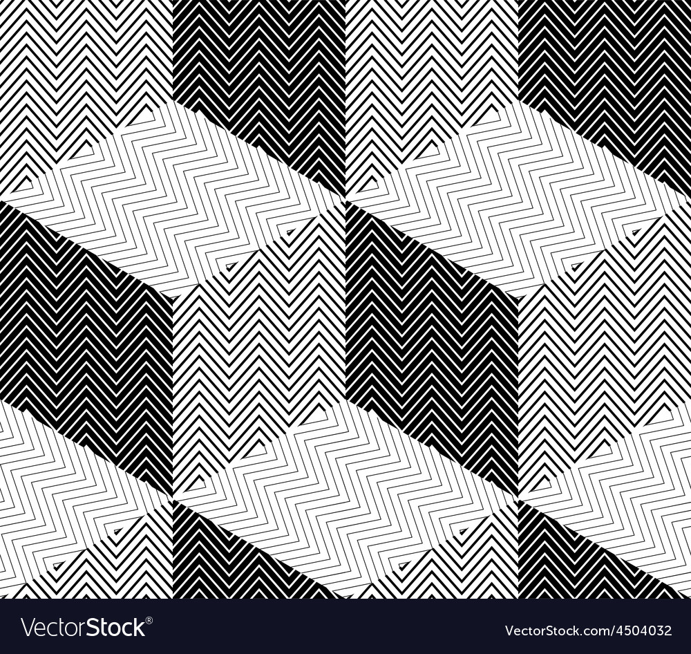 Striped Rhombuses 3D Cubes Seamless Pattern vector image