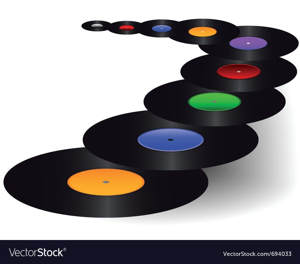 Black vinyl discs vector image