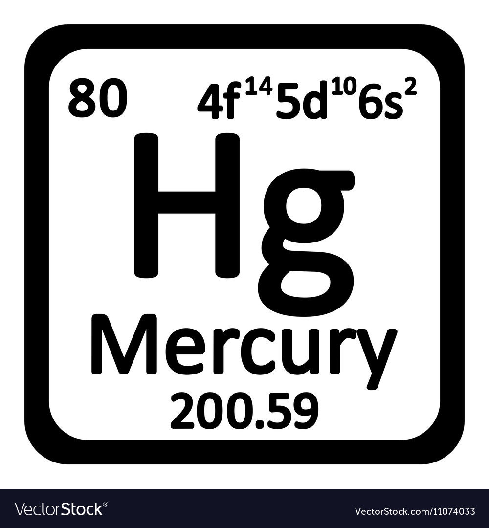 periodic table element mercury icon vector image - Periodic Table Of Elements Vector Free
