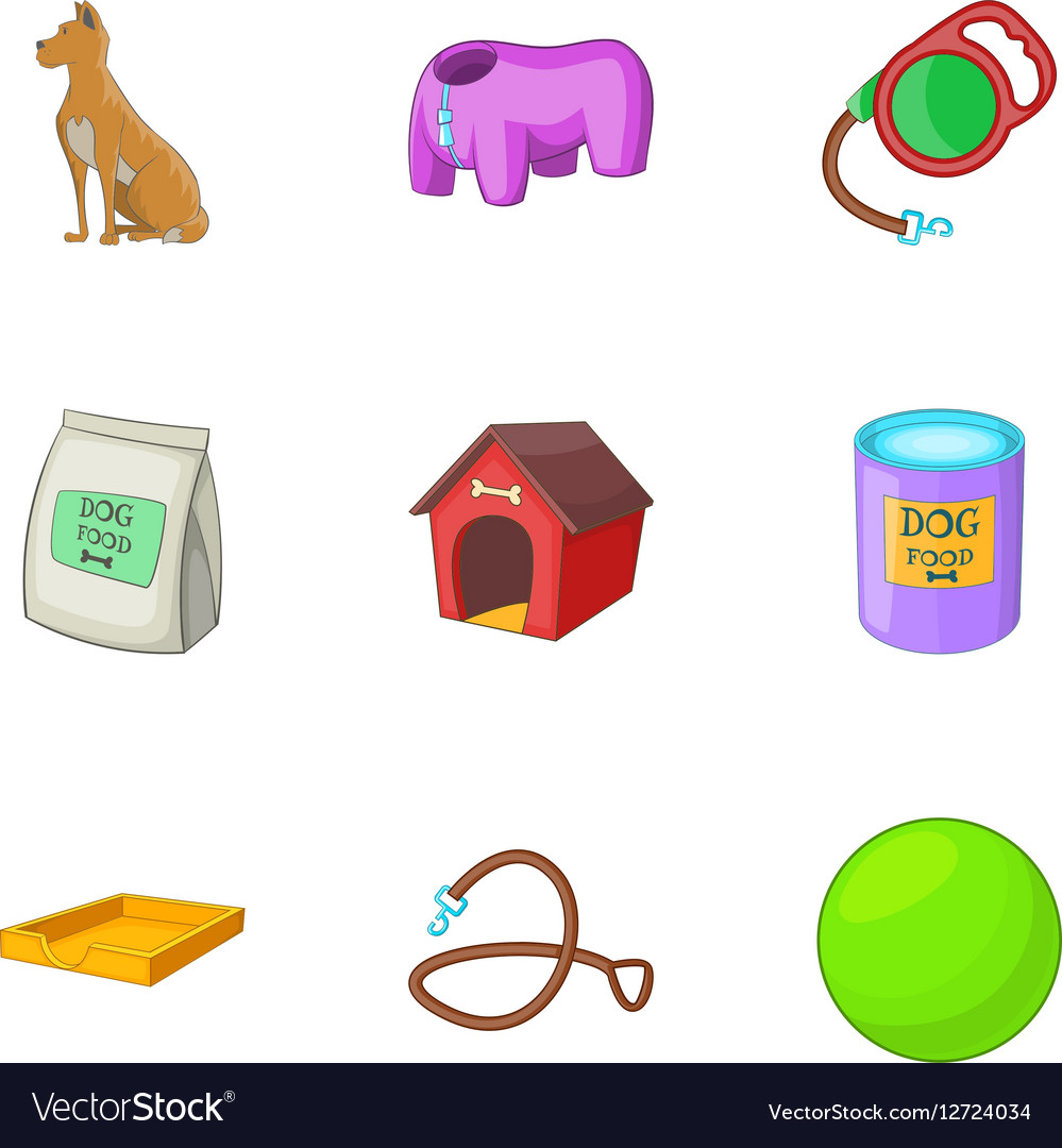 Dog care icons set cartoon style vector image
