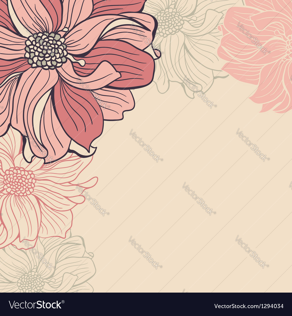 Greeting Card With Hand Drawn Flowers Of Dahlia Vector Image