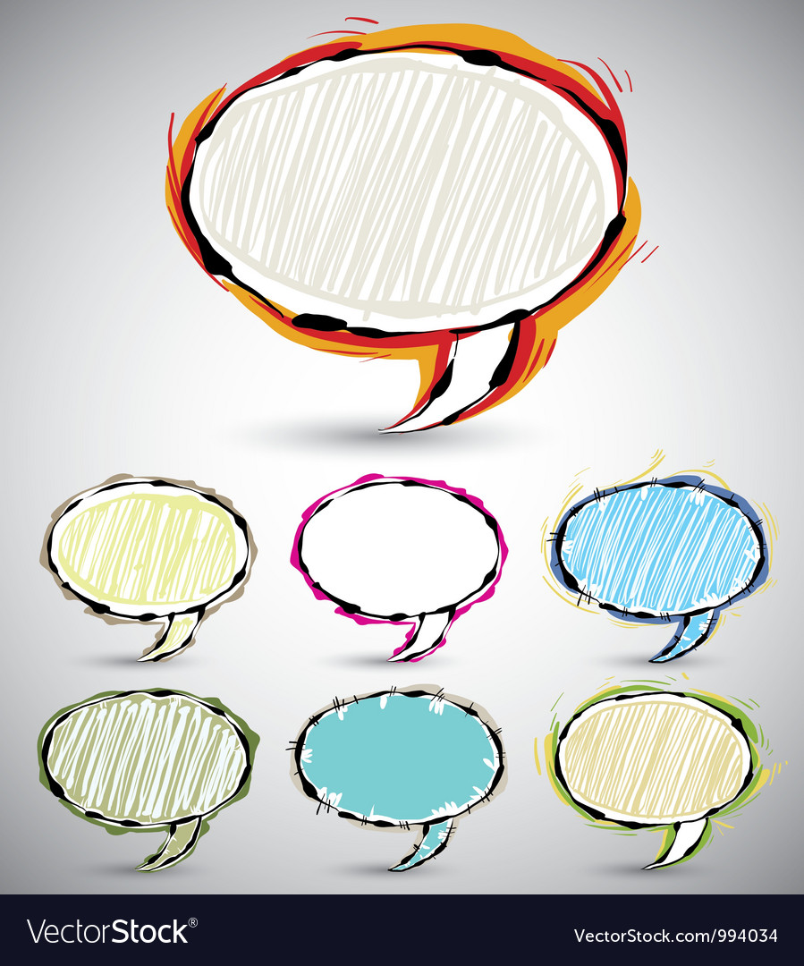 Sketch style speech bubbles 2 vector image