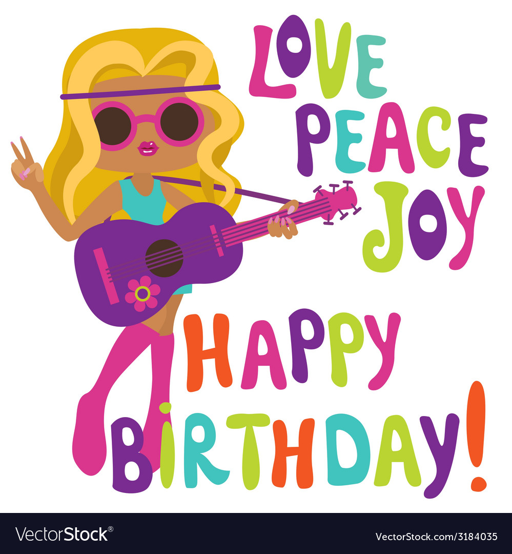 Happy birthday card with hippie girl guitarist vector image