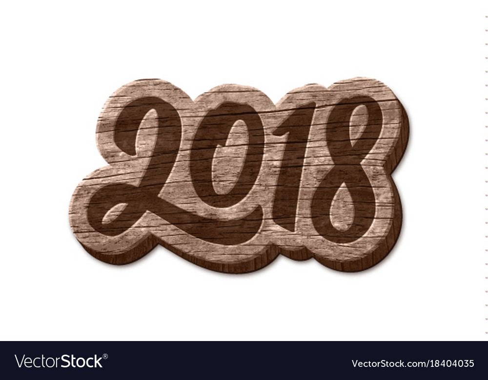 Happy new year 2018 wood badge element vector image