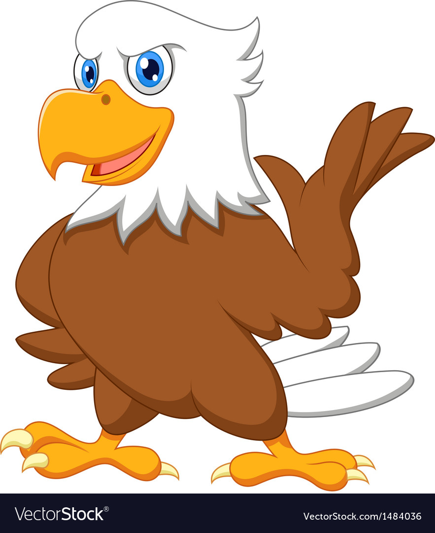 cute eagle cartoon waving royalty free vector image