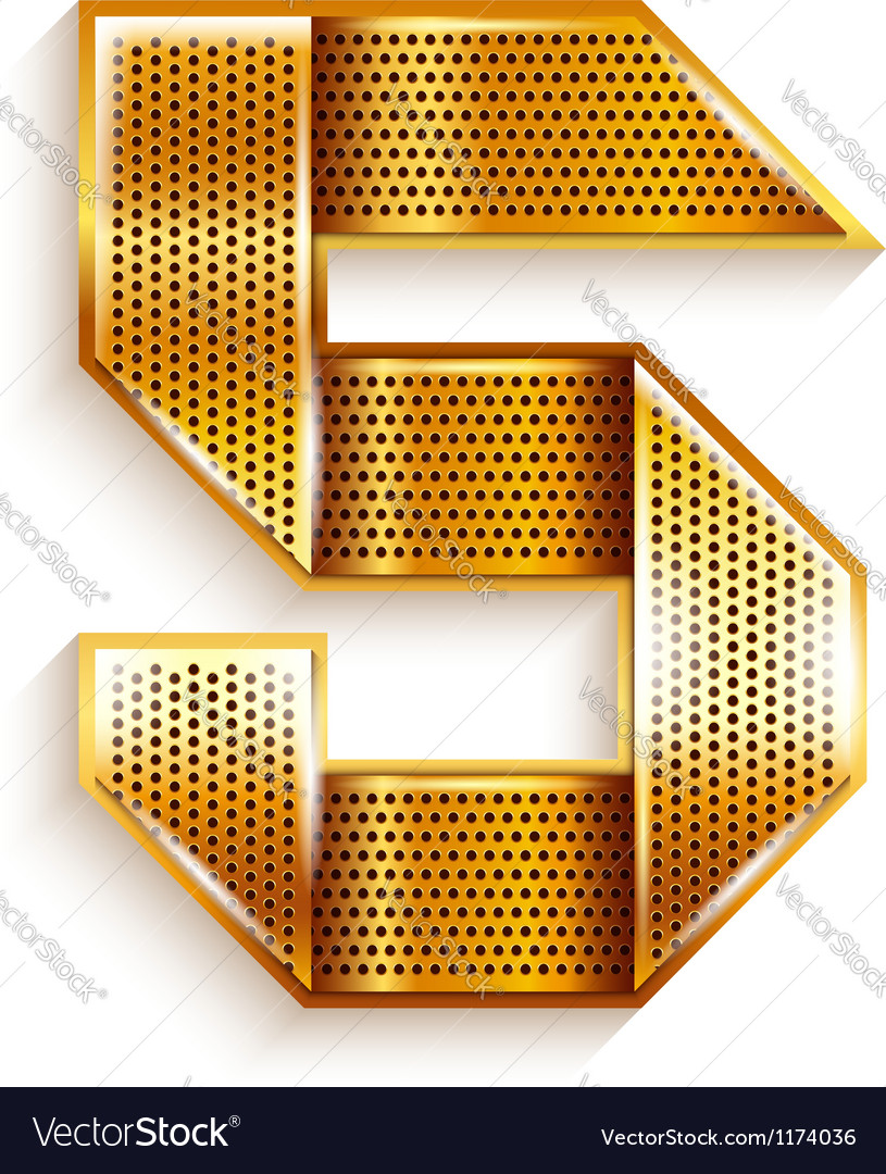 Number metal gold ribbon - 5 - five vector image
