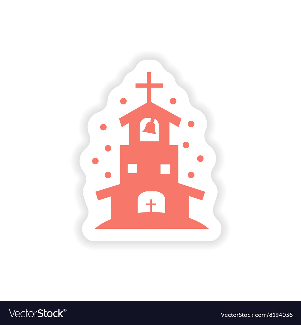 Paper sticker on white background Christian church