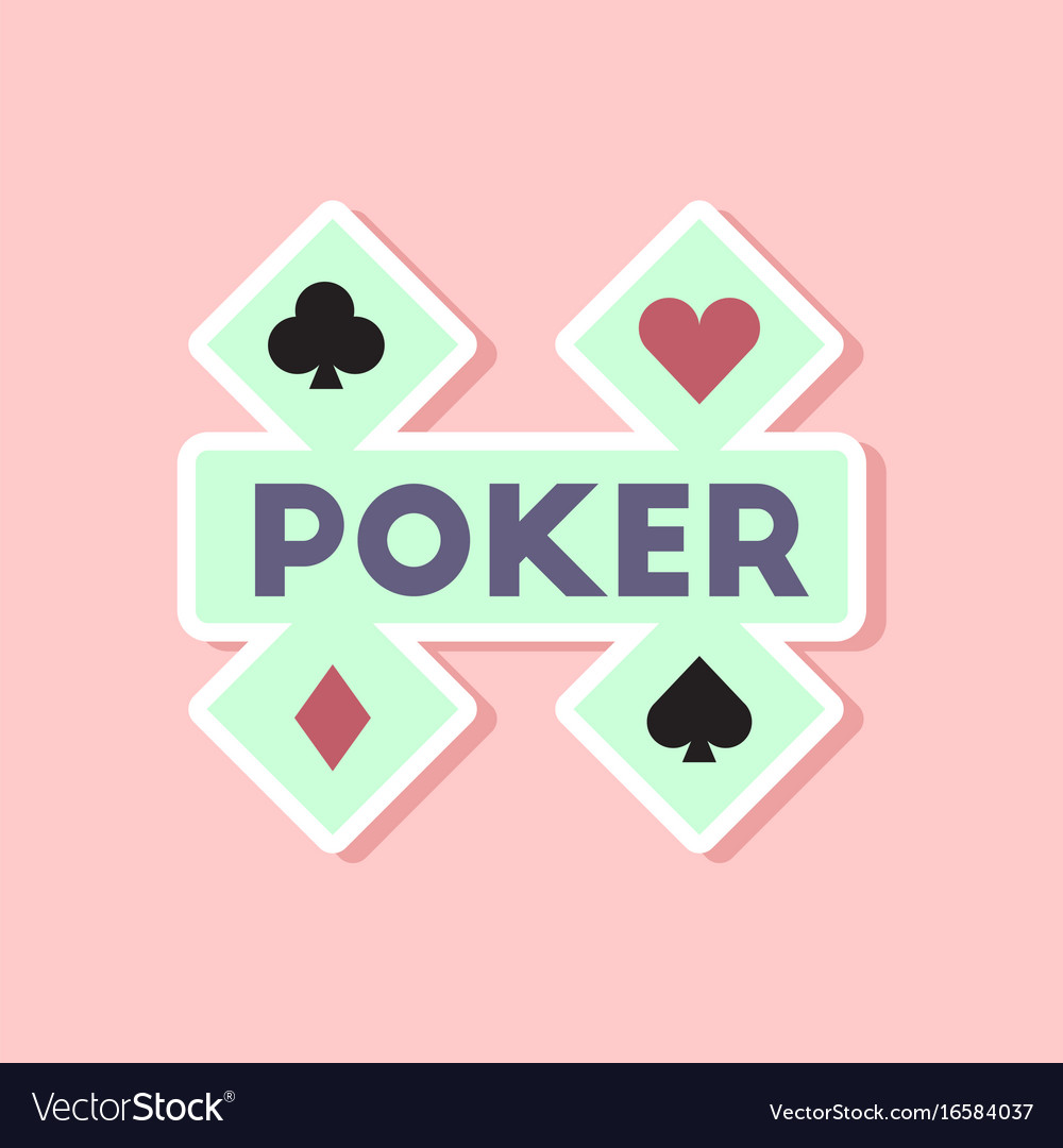 Paper sticker on stylish background poker logo vector image