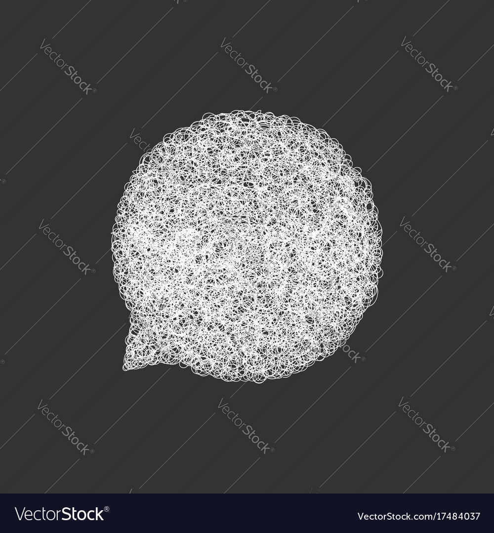 White hand drawn speech bubble template vector image