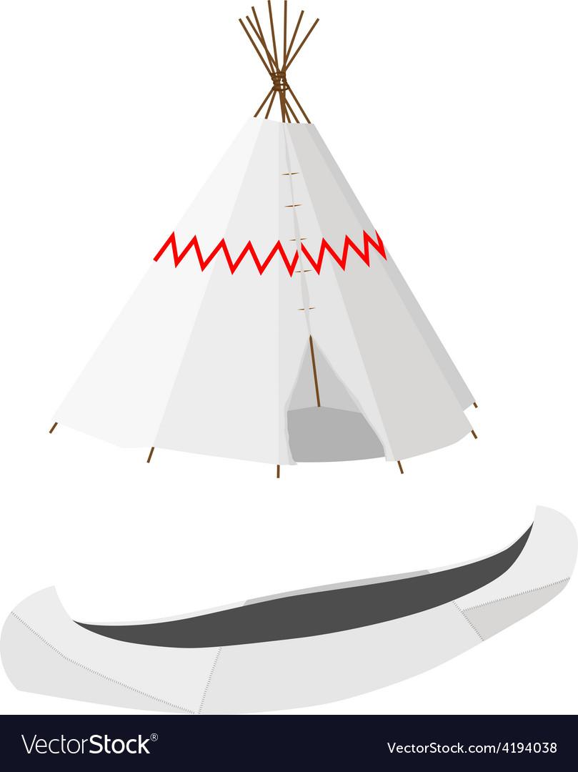 White canoe and wigwam vector image