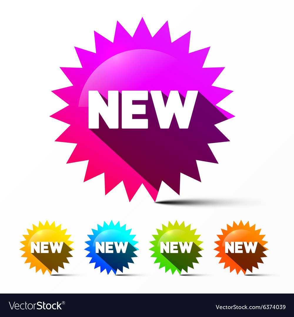 New Labels Set Colorful Toothed Stickers with New vector image