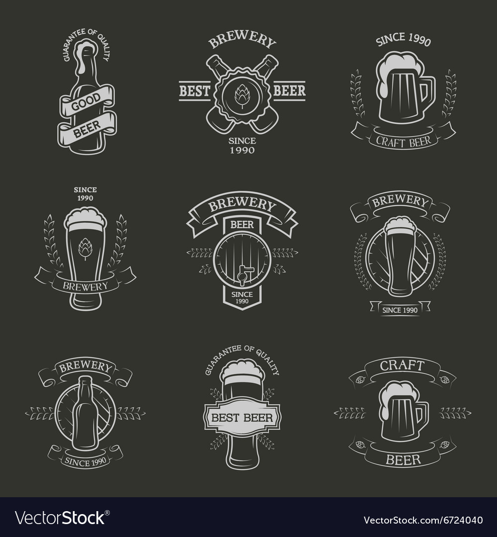Set brewing emblems vector image