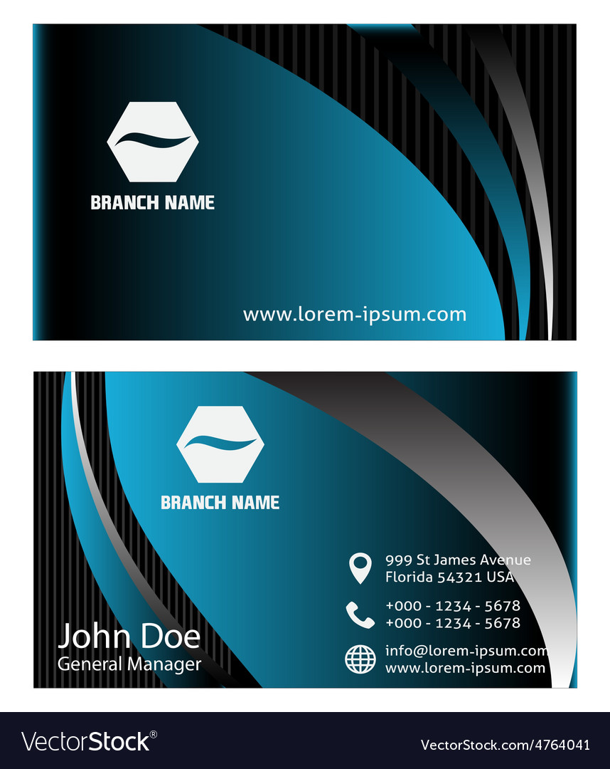 Blue business card template vector image