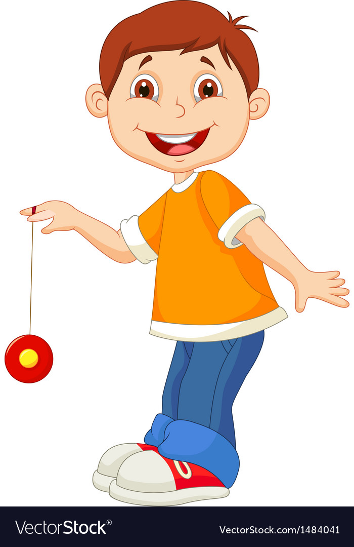 Little boy cartoon playing yo yo vector image