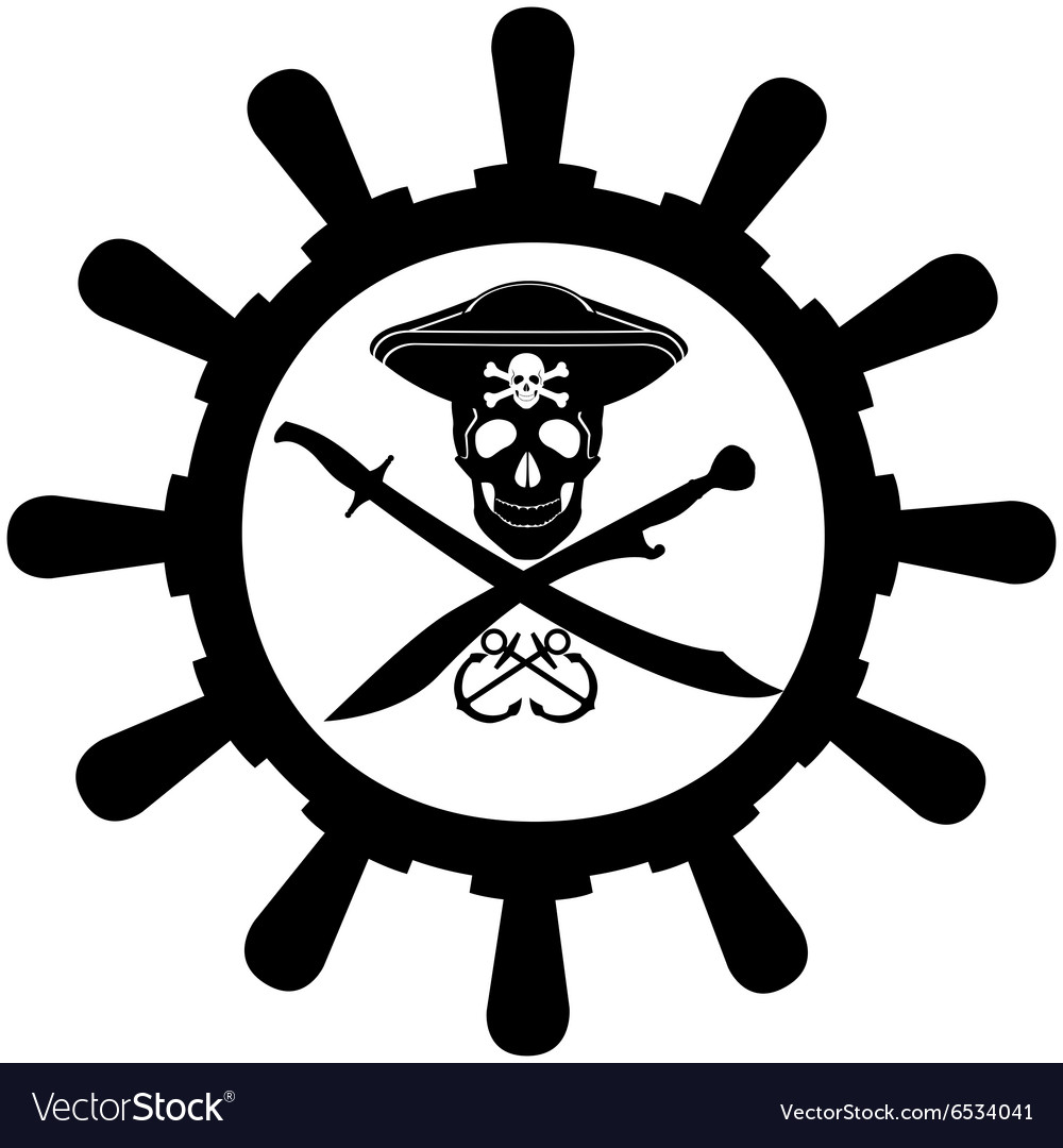 Steering wheel of a pirate ship vector image