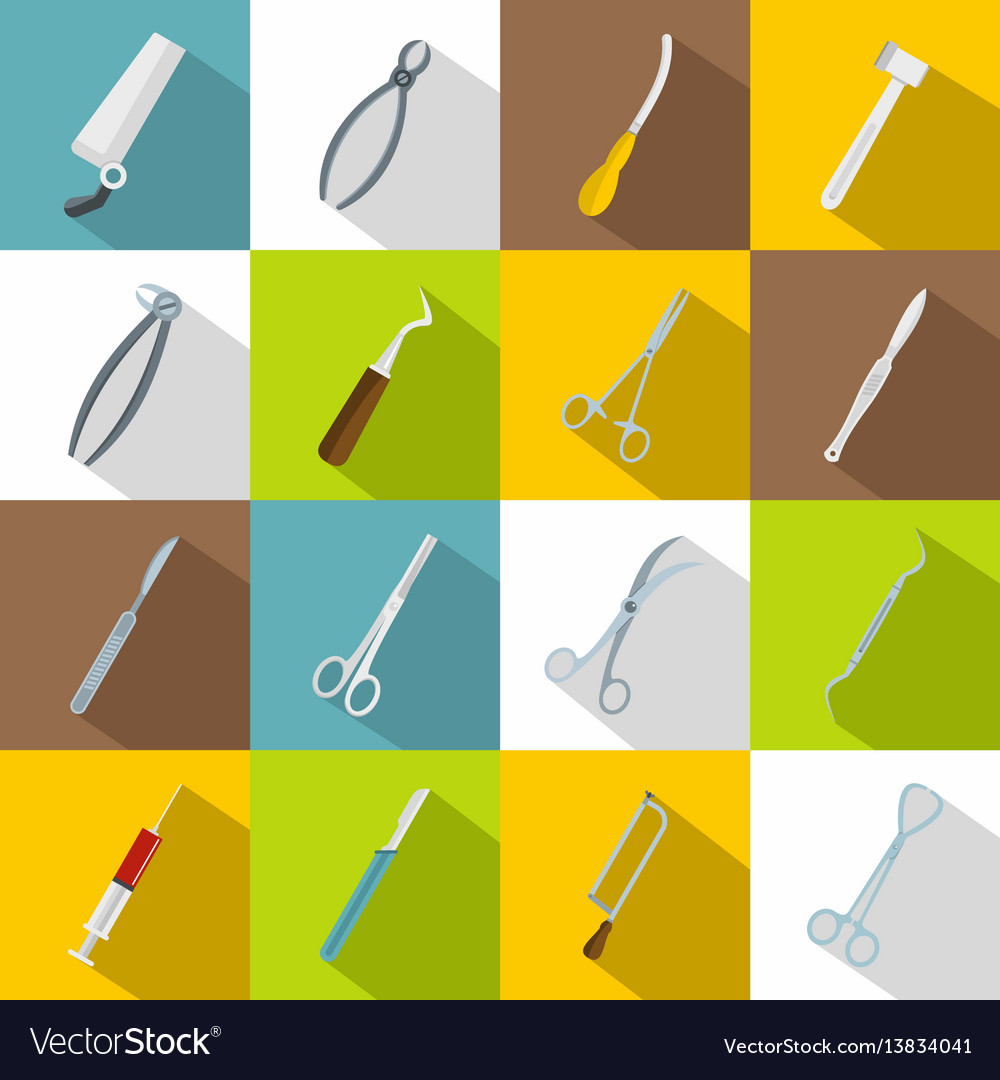 Surgeons tools icons set flat style vector image
