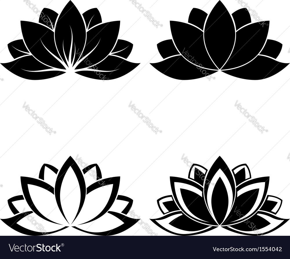 Lotus silhouette vector image