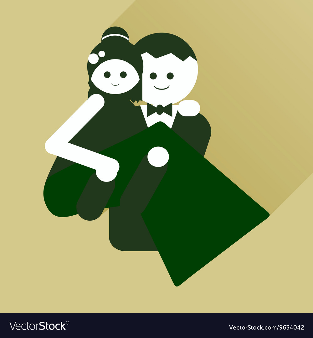 Flat icon with long shadow groom holds his bride