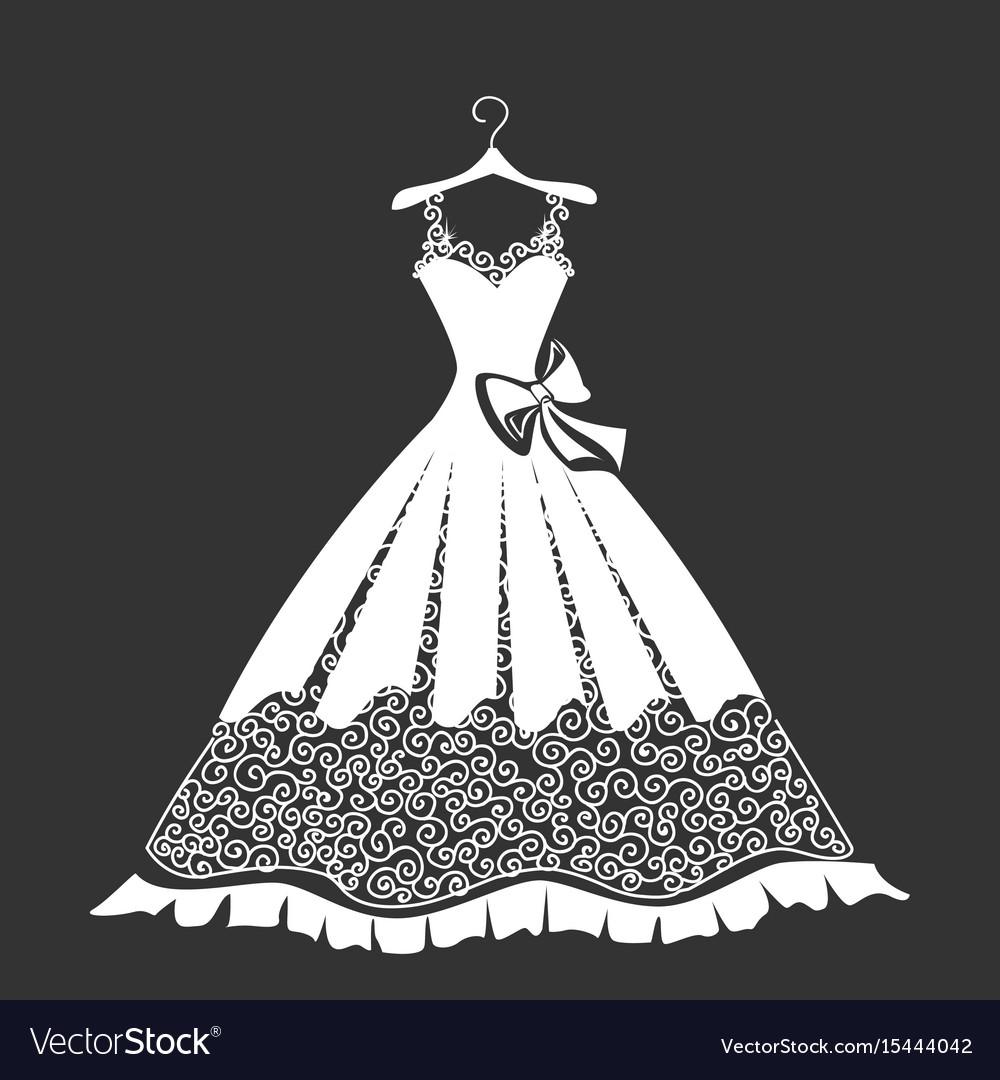 Beautiful dress silhouette vector image