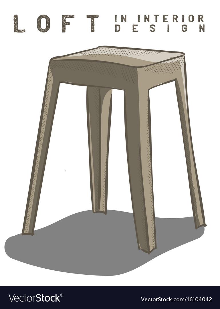 Beige stool loft in interior design eps 10 vector image