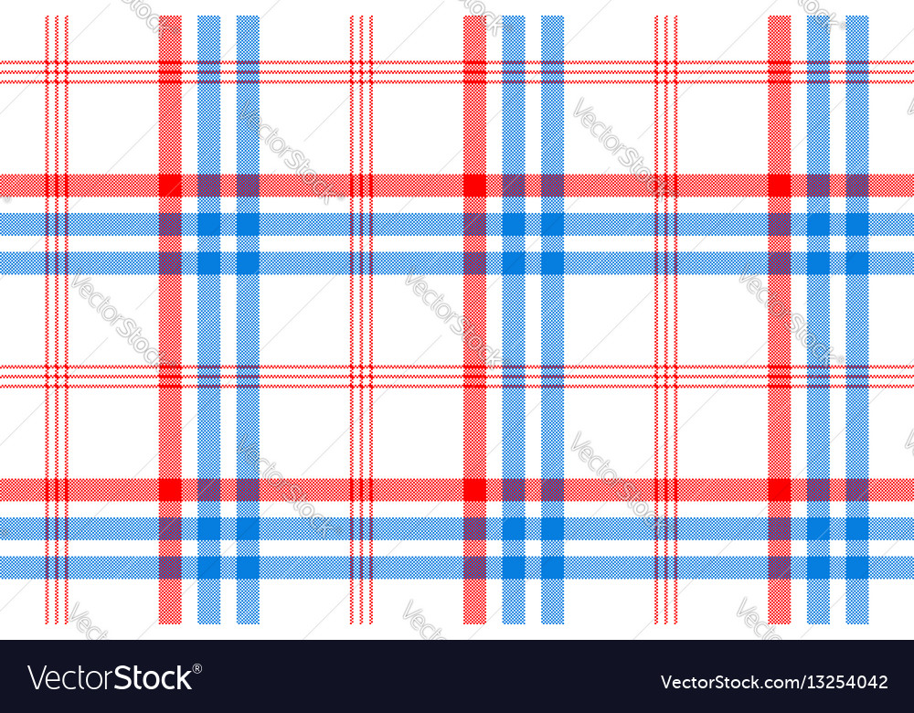 Check white textile with red and blue stripes vector image