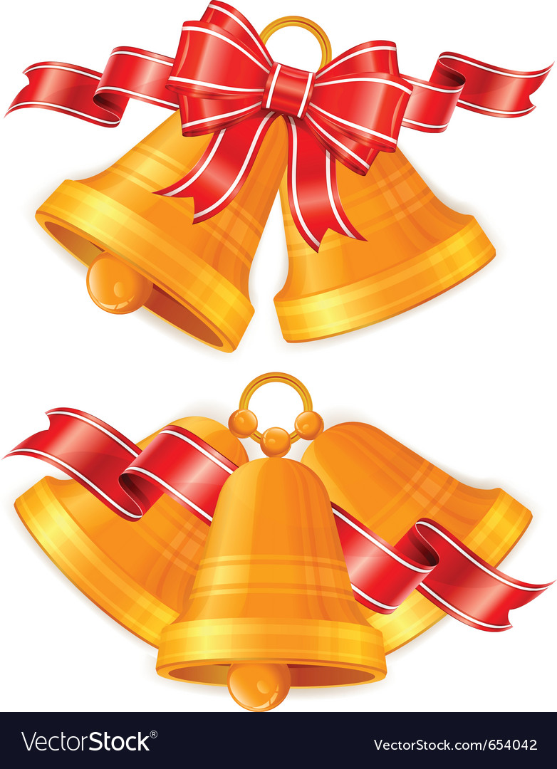 golden christmas bells royalty free vector image