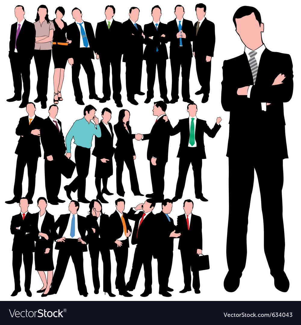 25 business people silhouettes set vector image