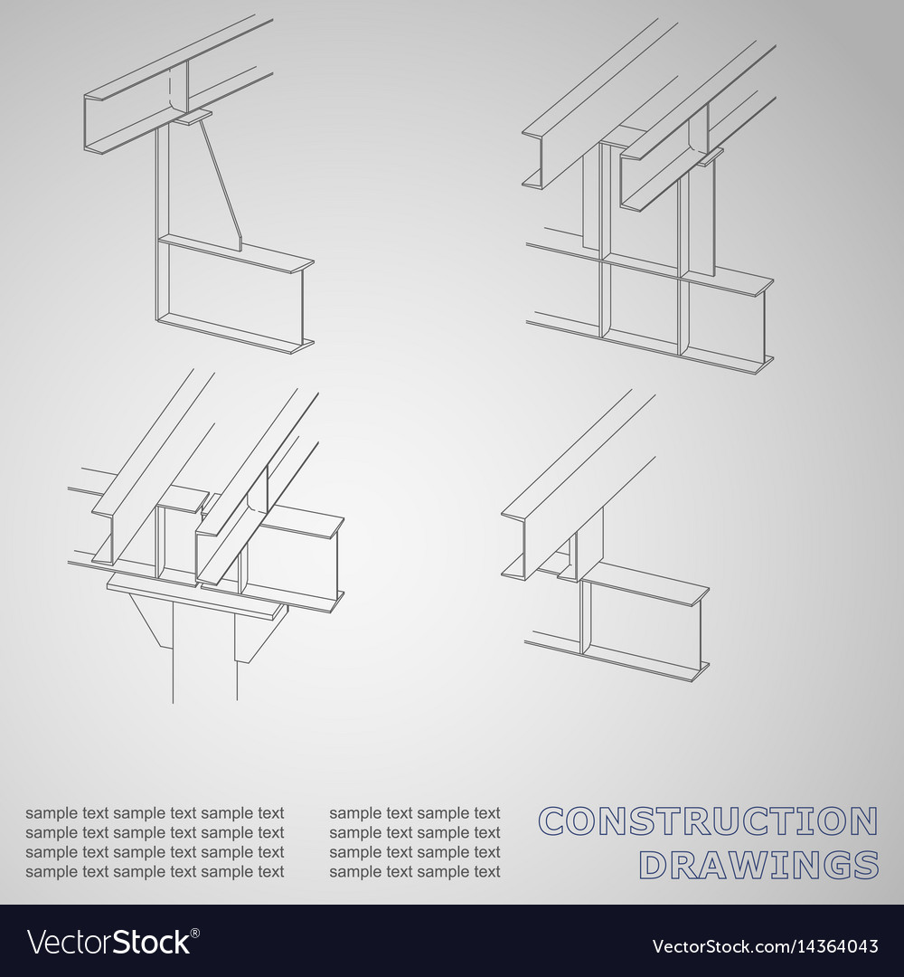 3d metal construction the beams and columns cover vector image