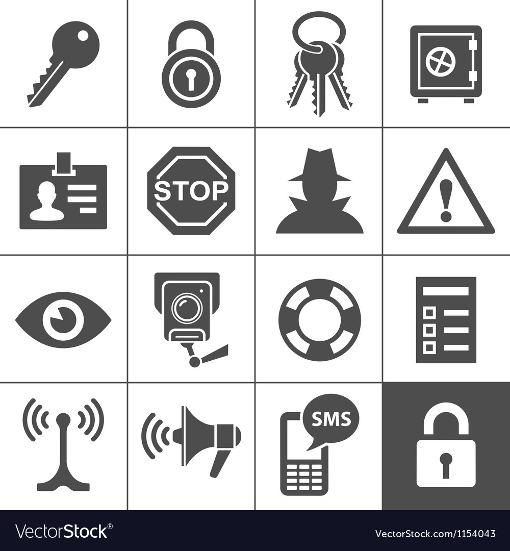 Security and warning icons Simplus series vector image