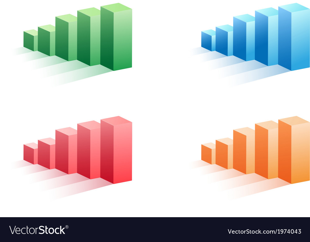 Set of color business bar graph vector image