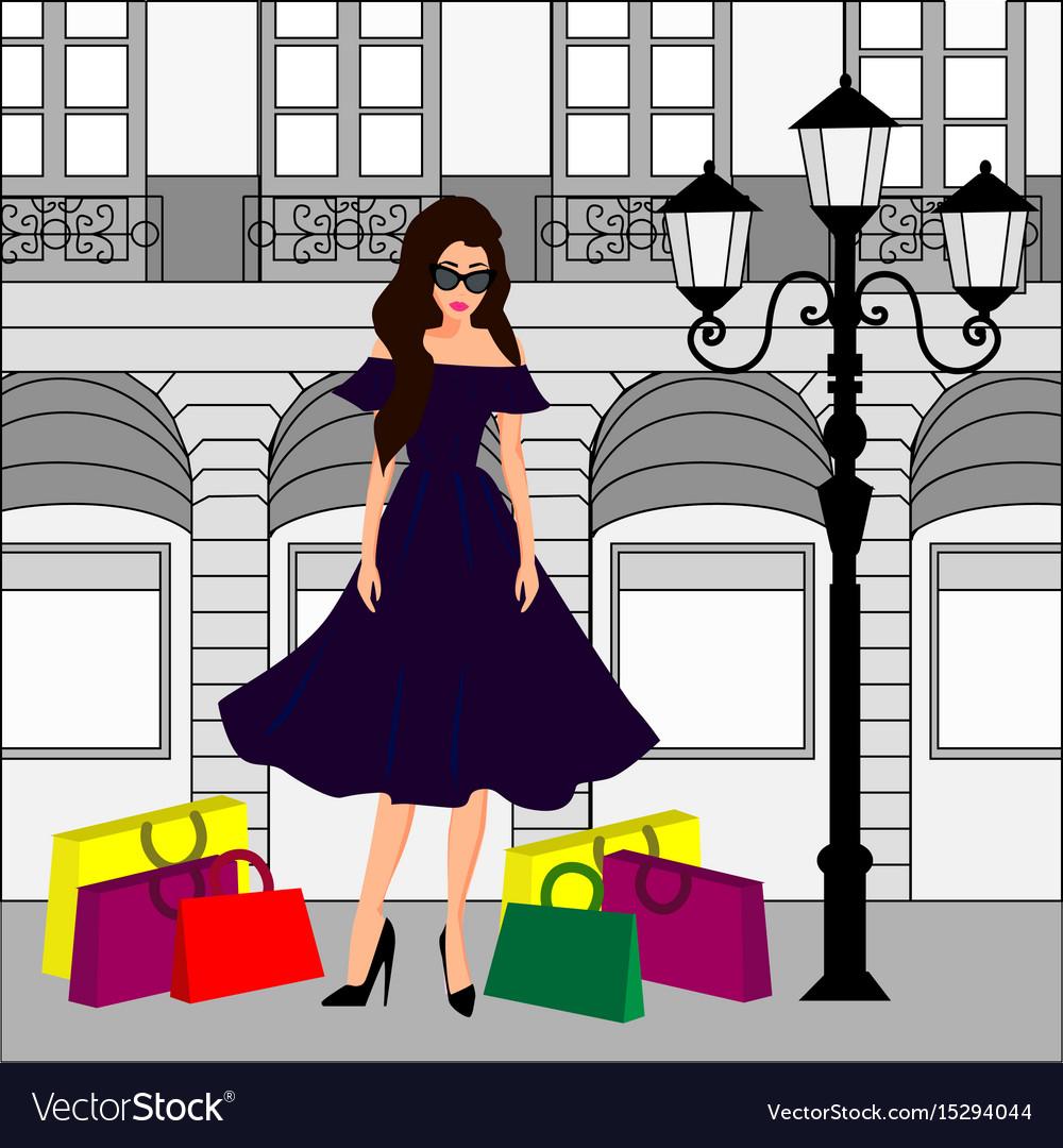 Fashion girl at shopping vector image