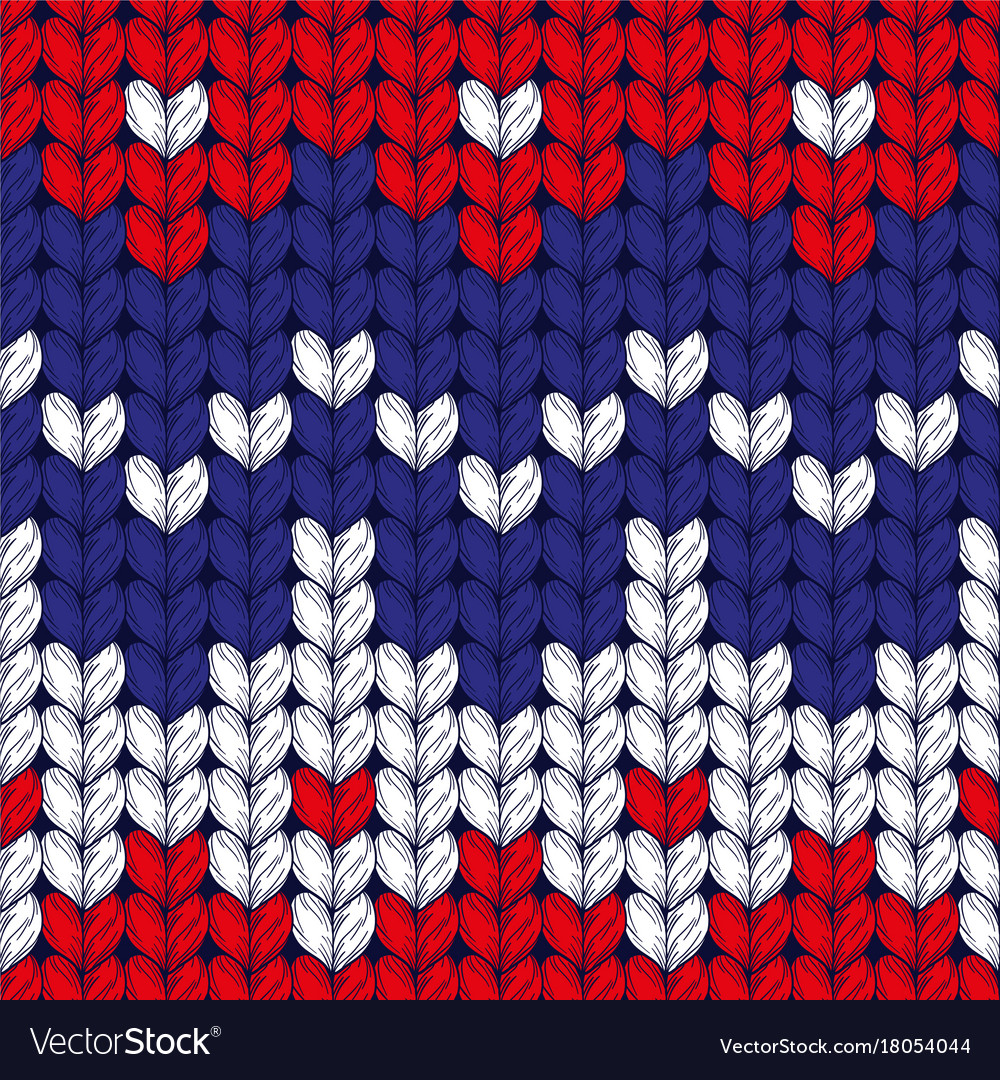 Seamless three colors christmas knitted pattern vector image