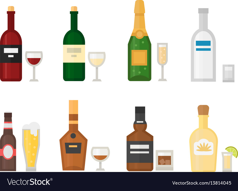 Alcohol drinks beverages cocktail whiskey drink vector image