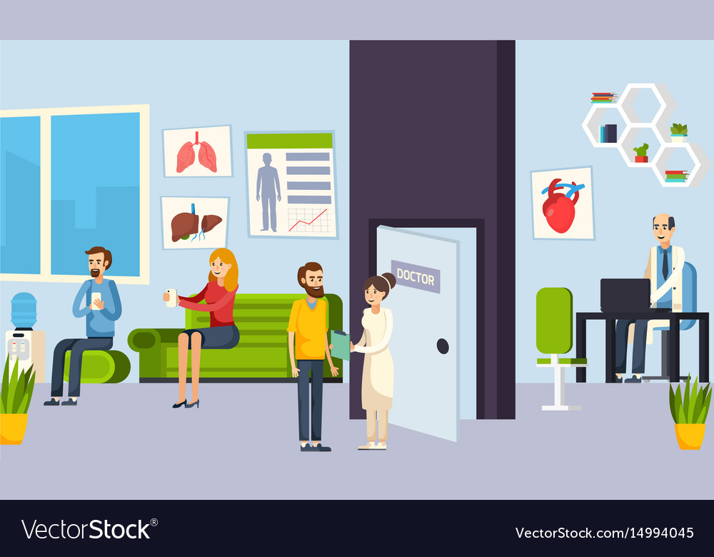 Waiting room in the clinic composition vector image