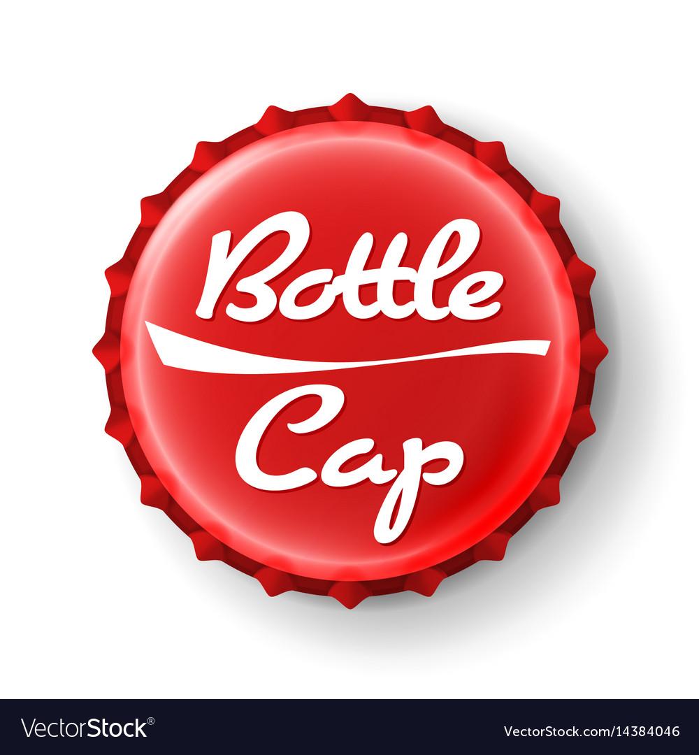 Beer cap red bottle cap mock up temaplate vector image