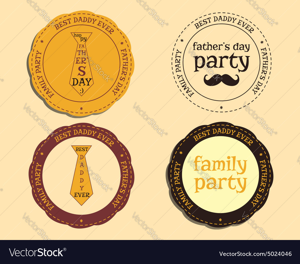 Happy Fathers Day logo and badge template with vector image