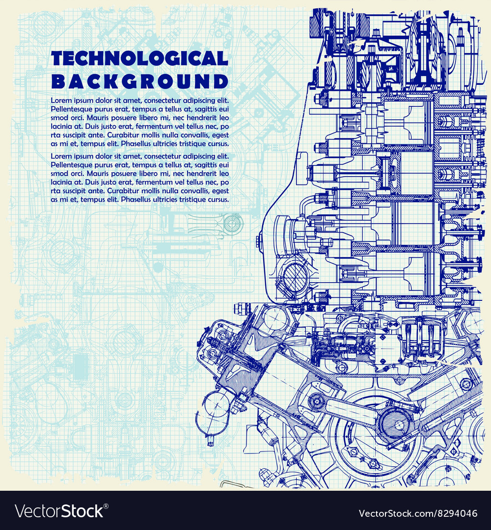 Retro technical background drawing engine vector image