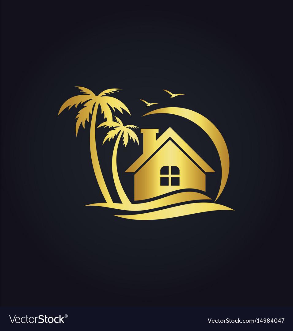 Hotel home resort beach gold logo vector image