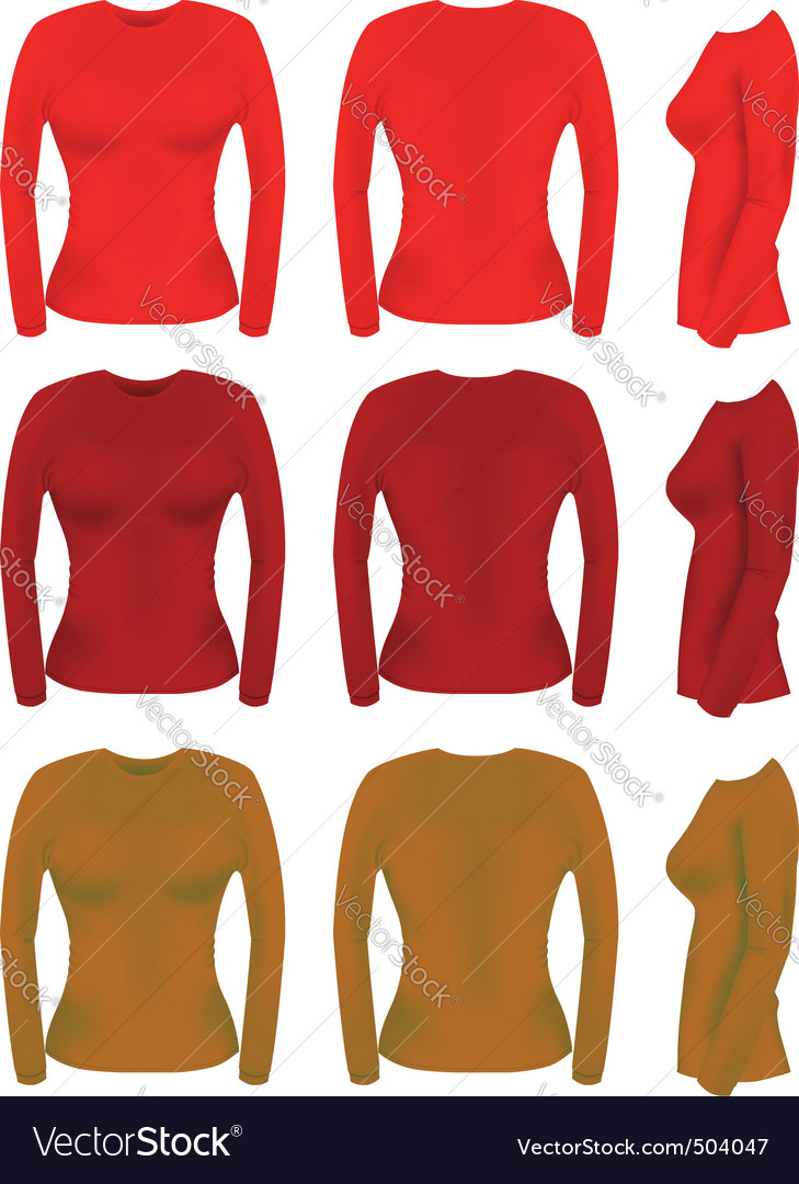 Long sleeve t-shirt templates vector image