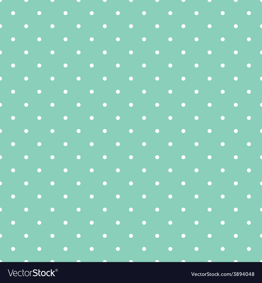 Tile pattern white polka dots on green background vector image