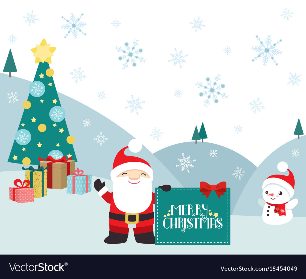 Christmas winter scene santa claus and presents vector image