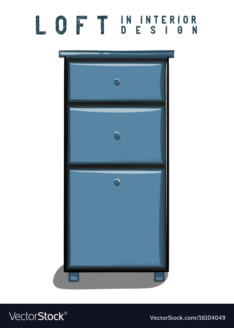 Dark blue nightstand loft in interior design eps vector image