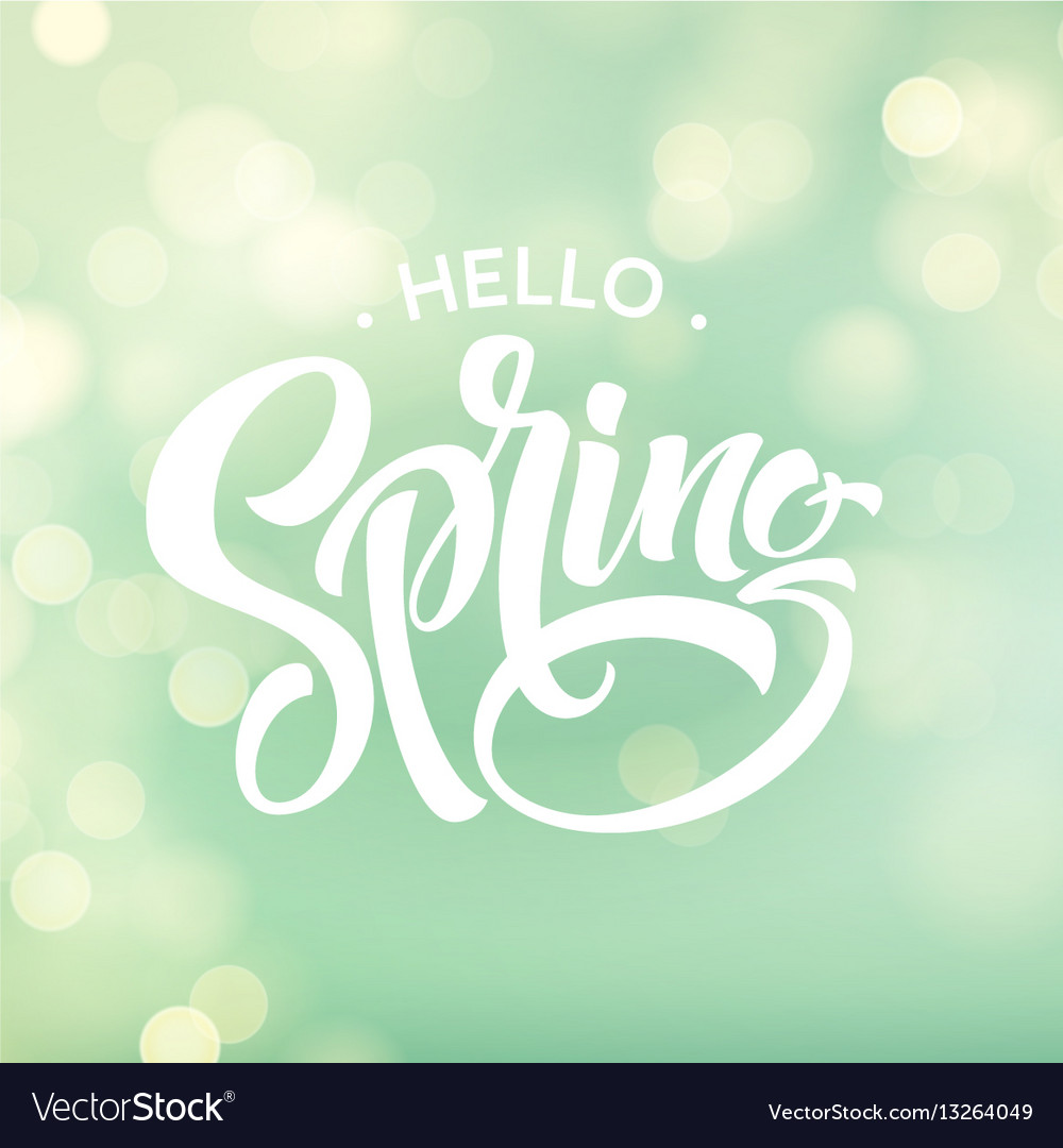 Hello spring beautiful spring background with vector image