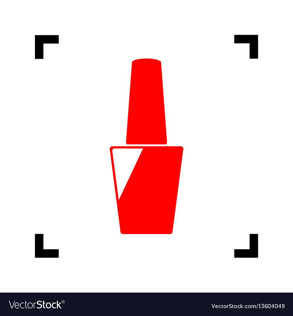 Nail polish sign red icon inside black vector image