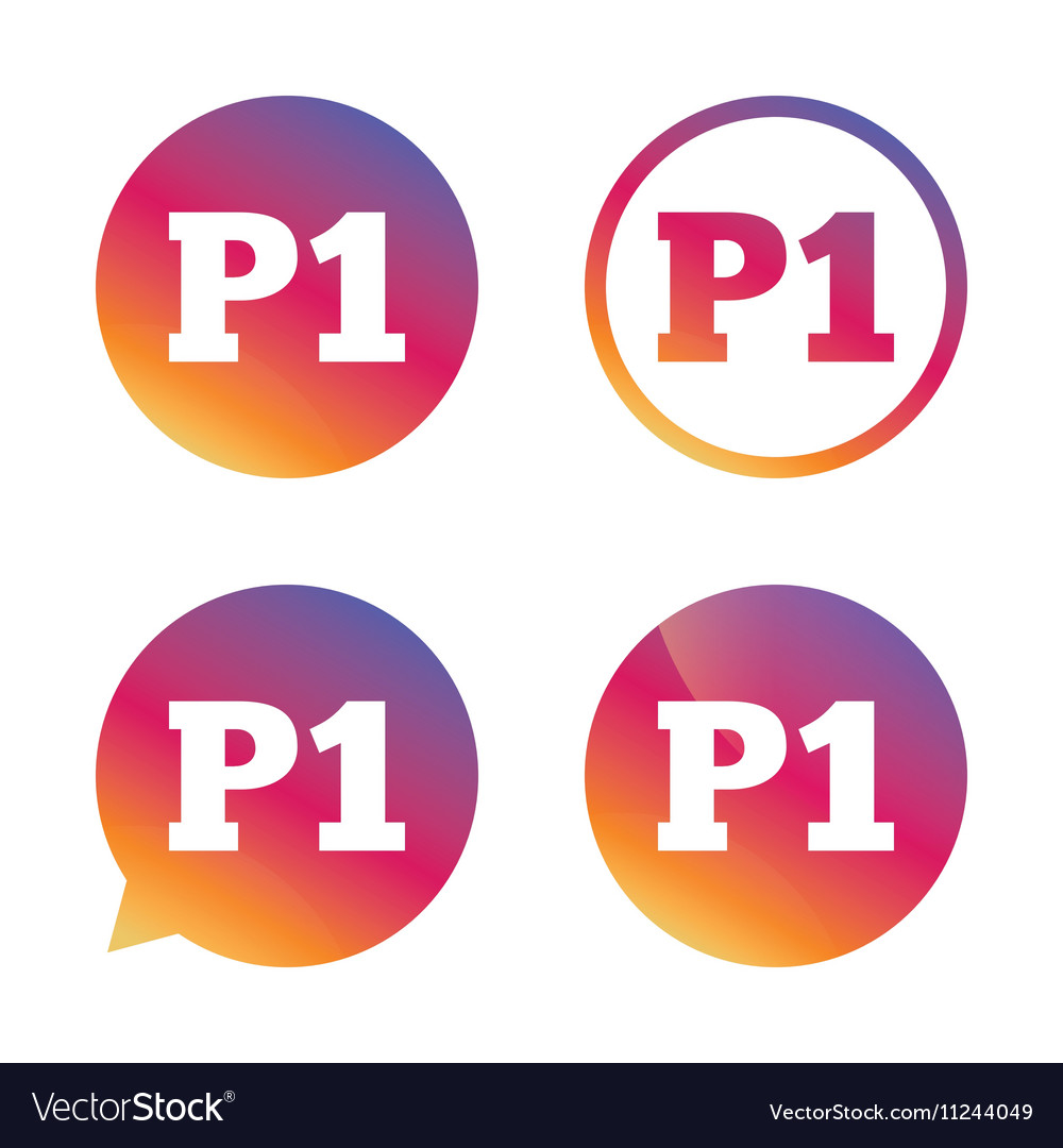 Parking first floor icon Car parking P1 symbol vector image
