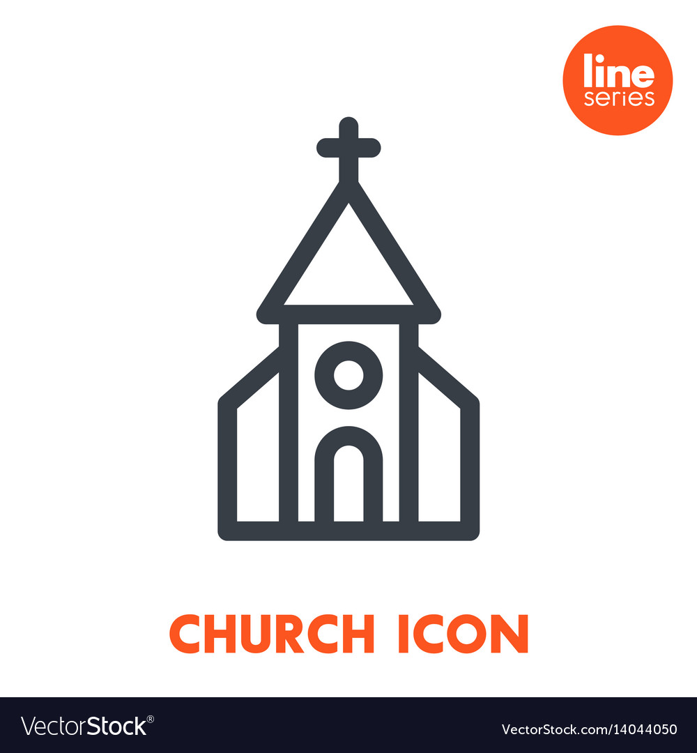 Church line icon over white vector image