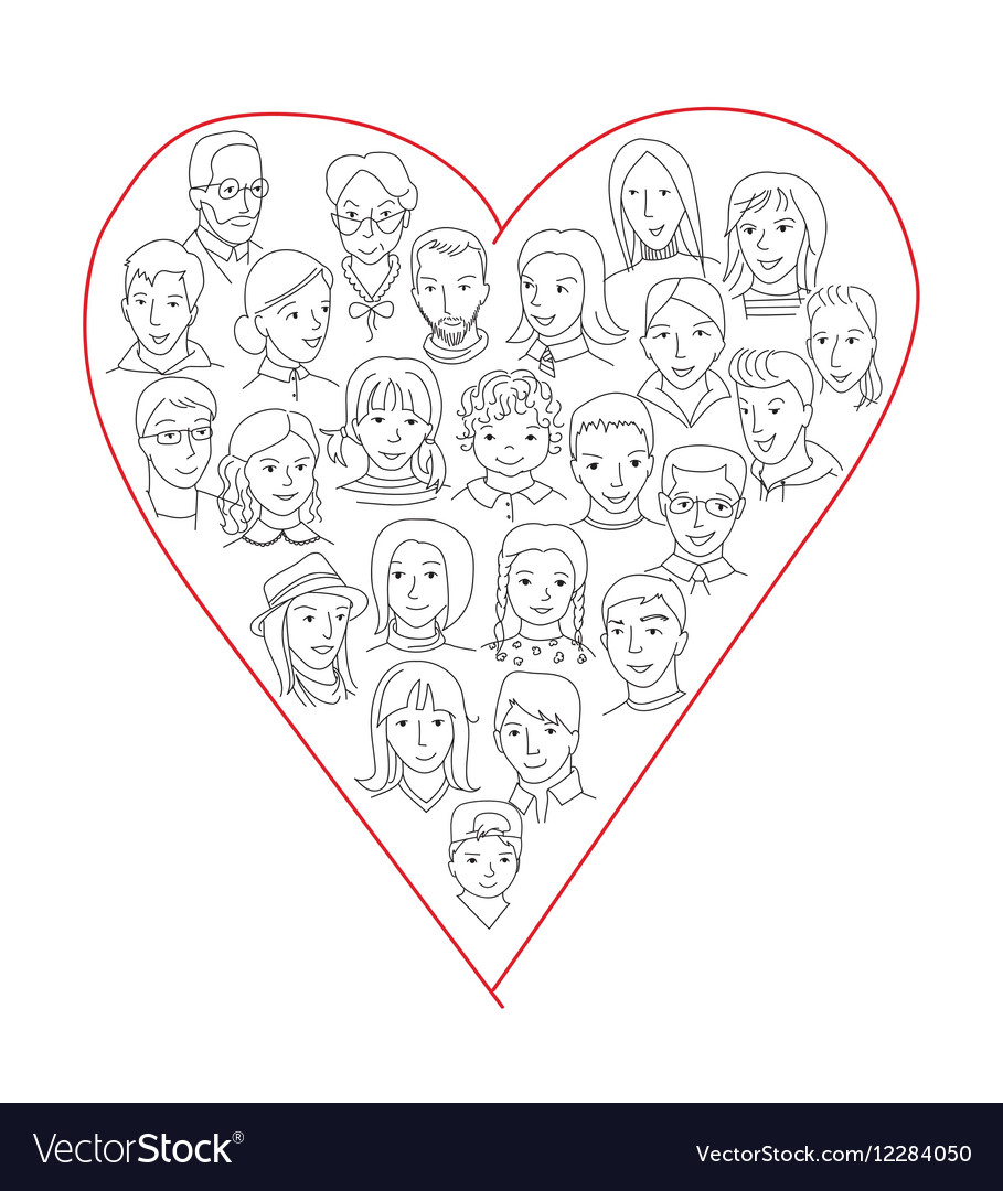Large group of people heart shape concept vector image