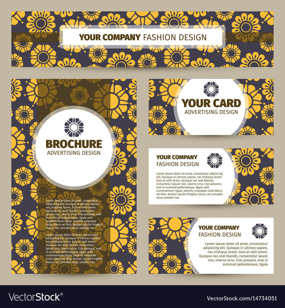 Corporate identity design with flowers pattern vector image